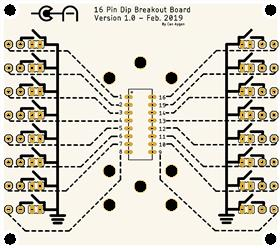 16 Pin DIP Breakout with gnd jumpers for coax connections