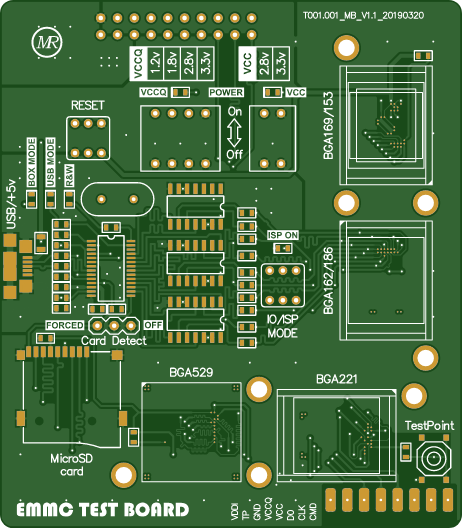 EMMC test board adapter for Z3X box (first revision) - Share Project