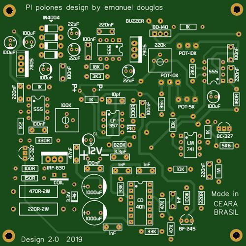 Detector de metais pi polones design 2019 by emanuel douglas pcb 10x10cm