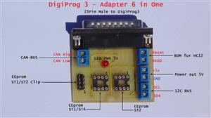 DIGIPROG 3 - CAN-BUS ,  BDM , I2C , ST1 , ST2 , ST1/ST4 - Adapter 6 in 1 ( Six in One )