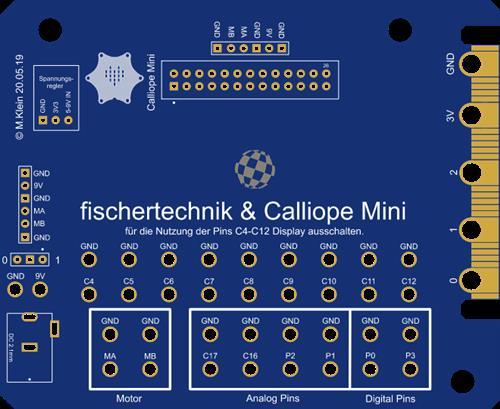 Calliope Mini Fischertechnik Extensionboard