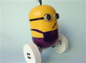 Minion robot made with Kinder Egg capsule and Arduino