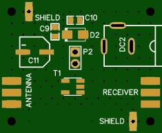 Antenna Mini-Whip PCB (SMD): Power feed unit (with RF-isolation transformer TC1-1T+)
