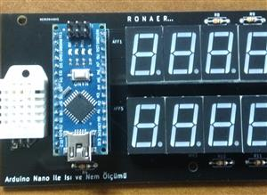 Temparature and Humidity displayed with 7 segment + arduino nano + DHT 22