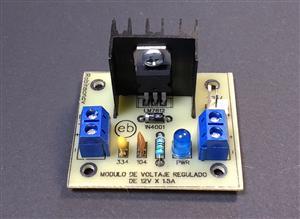 Módulo de voltaje regulado de 12V x 1.5A con el LM7812 - KF301