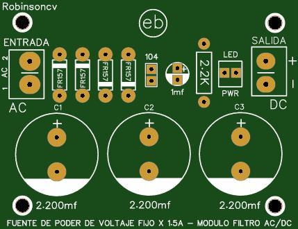 Fuente de poder de voltaje fijo x 1.5A - Modulo filtro AC/DC