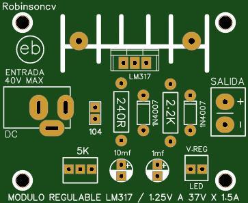 Módulo de voltaje regulable de 1.25V a 37V x 1.5A con el LM317 - JACK