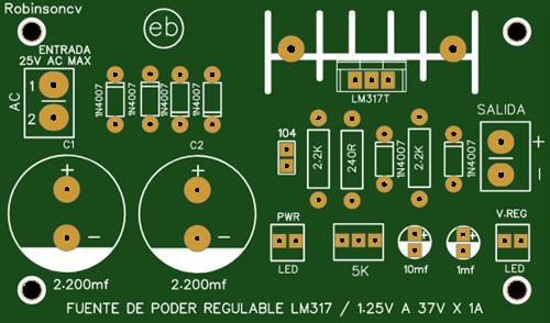 Fuente de poder regulable con el LM317T de 1.25V a 37V x 1A