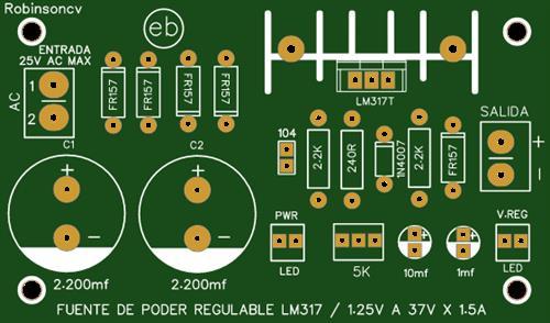 Fuente de poder regulable con el LM317T de 1.25V a 37V x 1.5A
