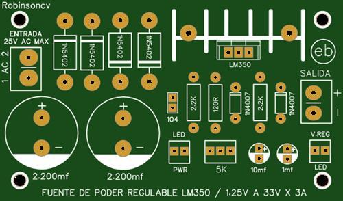 Fuente de poder regulable con el LM350 de 1.25V a 33V x 3A