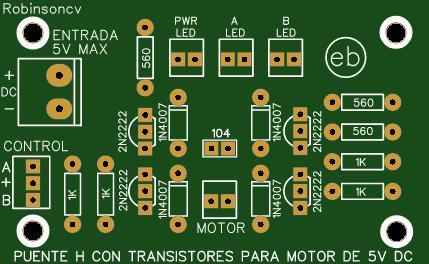 Puente H con transistores 2N2222 para motores DC de 5V - KF301