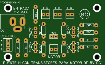 Puente H con transistores 2N2222 para motores DC de 5V - JACK