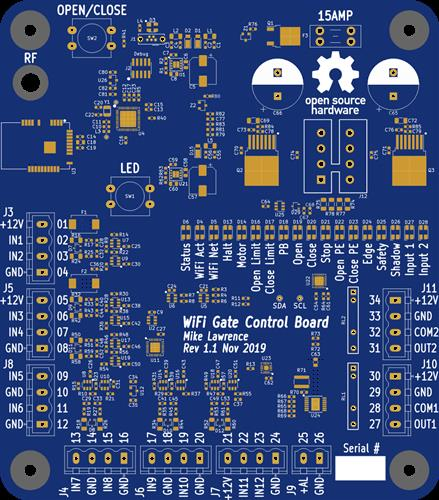 WiFi Gate Control Board Rev 1.1