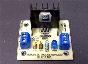 Módulo de voltaje regulado de 9V x 1.5A con el LM7809 - KF301