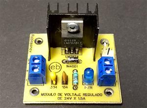 Módulo de voltaje regulado de 24V x 1.5A con el LM7824 - KF301