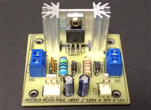 Módulo de voltaje regulable de 1.25V a 37V x 1.5A con el LM317 - KF301