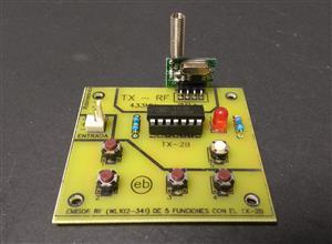 EMISOR - Control de Radiofrecuencia  (WL102-341) de 5 funciones con el TX-2B