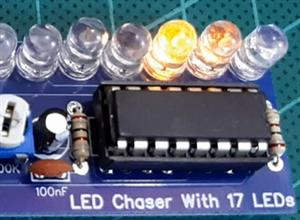LED Chaser with 17 LEDs (Cascading IC 4017)