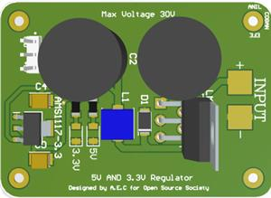 Max 30V Voltage Regulator (5V and 3.3V)