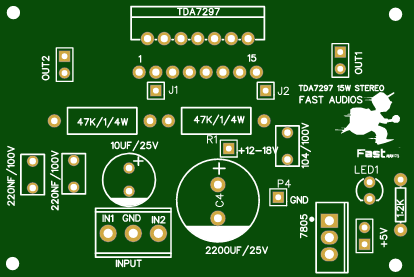 TDA7297 Single Supplay borde Audio Amplifier