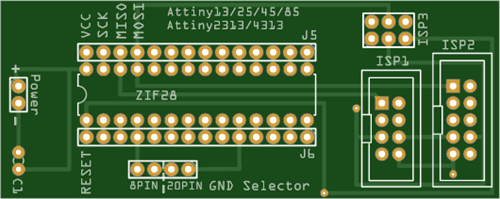 Programming adapter for Attiny13/25/45/85 and 2313/4313 devices