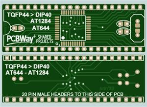 TQFP44 to DIP40 CONVERTER ADAPTER PCB for MICROCHIP (ATMEL) ATMEGA644 and ATMEGA1284