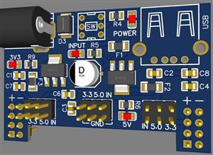 Breadboard Power Supply Module 3.3V 5V 7-12V with USB port