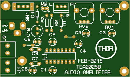A PCB Of The Stereo Audio Amplifier With TEA2025B