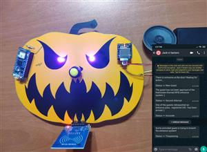 WhatsApp Halloween-Themed RFID Talking Doorbell w/ RGB Eyes