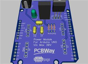 Arduino power supply module with 3.3V, 5V and 12V output