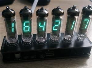 Clock on vacuum fluorescent indicators