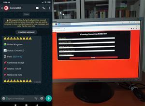 WhatsApp Coronavirus Notifier Bot Running on Raspberry Pi