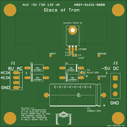 Disc of Tron Arcade Video Game -5V Low Noise Power Supply Board