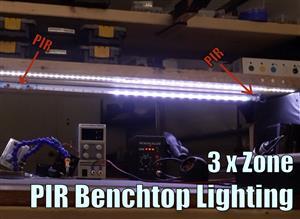 Triple Zone PIR Workbench Lighting
