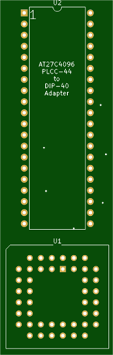 PLCC-44  to DIL40 EPROM Adapter Board