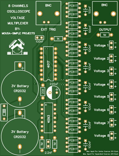 8-Channel Voltage Multiplexer for Oscilloscope