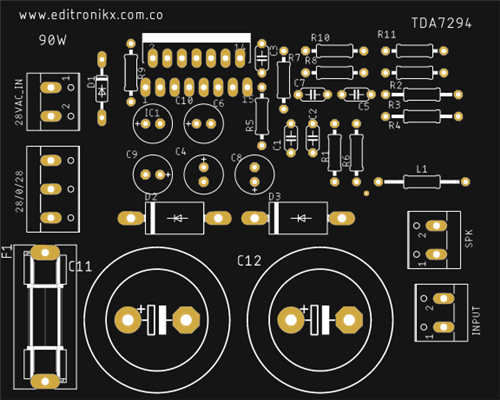 amplificador de sonido tda 7294 de 100w