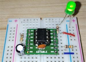 NE555 Astable Circuit Breadboard Adapter