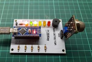Gas leak detector alarm system with arduino nano